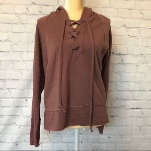 Lucky Brand lace up mauve hoodie